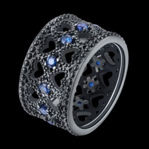 Jewelry - 18k Black Gold Plated Blue Sapphire Eternity Ring